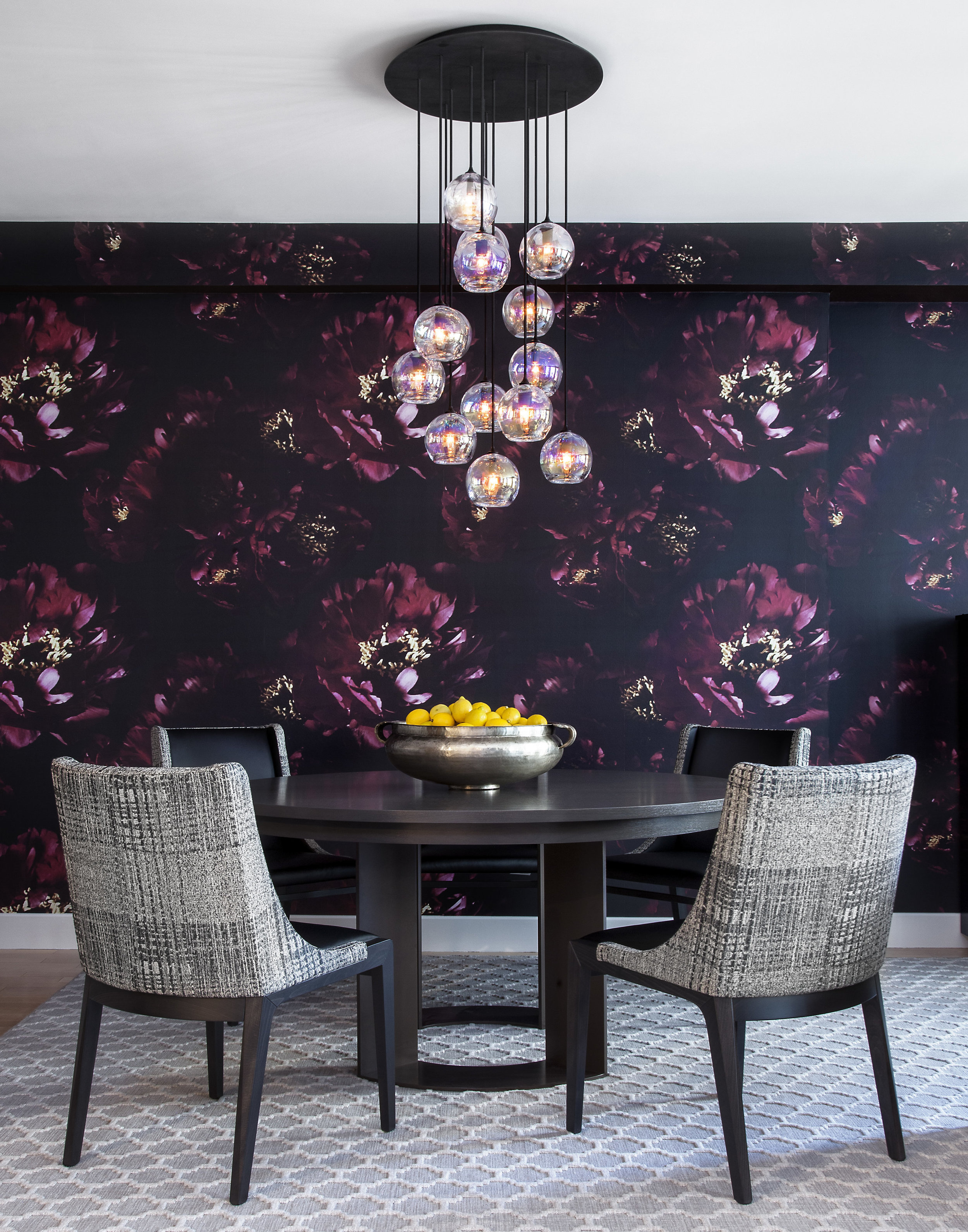 With an iridescent pendant chandelier lighting the way with bold pattern and color , dinners will never be boring!