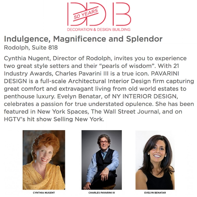 Evelyn Benatar in conversation about luxury in interior design with fellow designer Charles Pavarini III and Rodolph's Cynthia Nixon in New York City, October 2018.