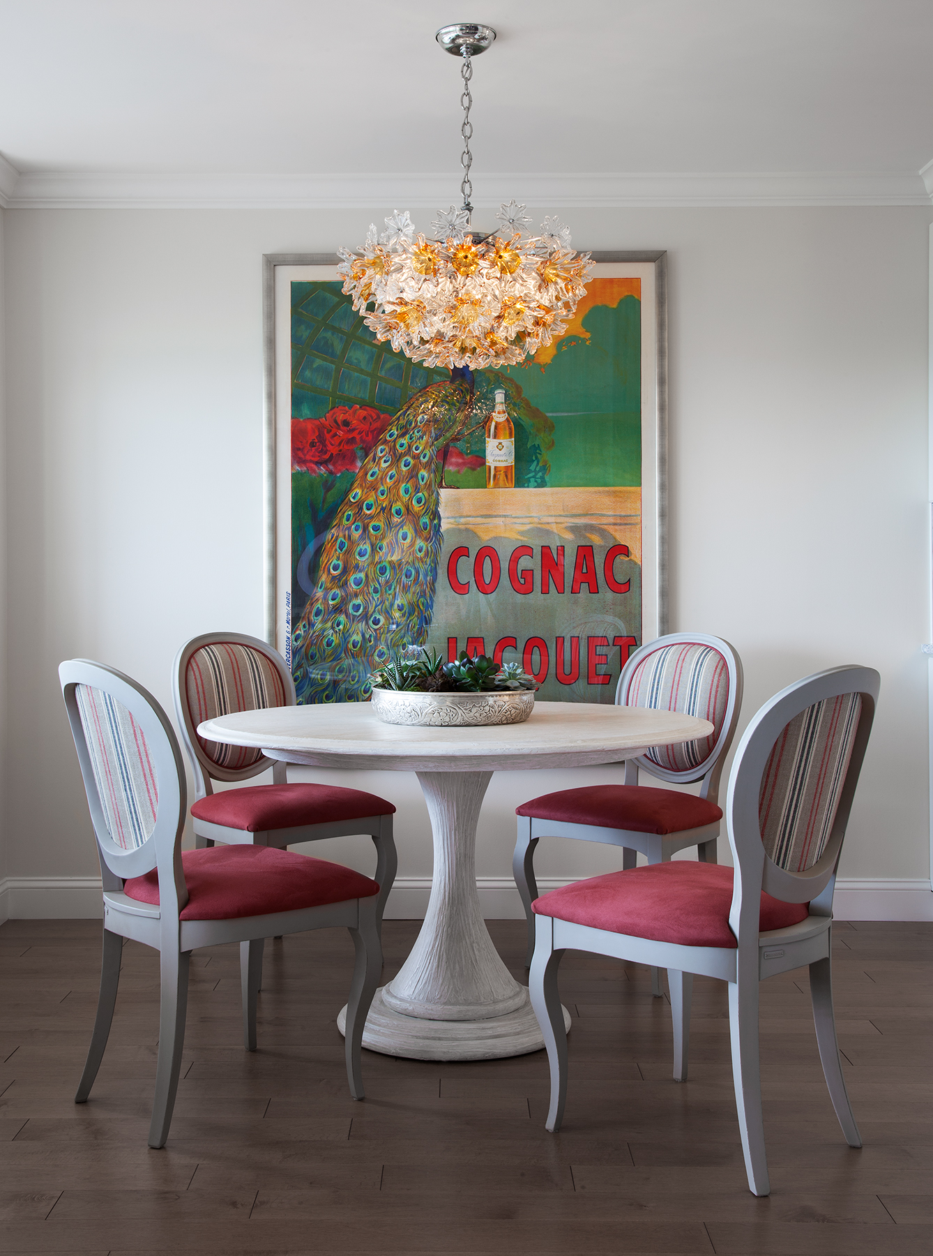 Pattern, stripes and bright color make the dining area sing!