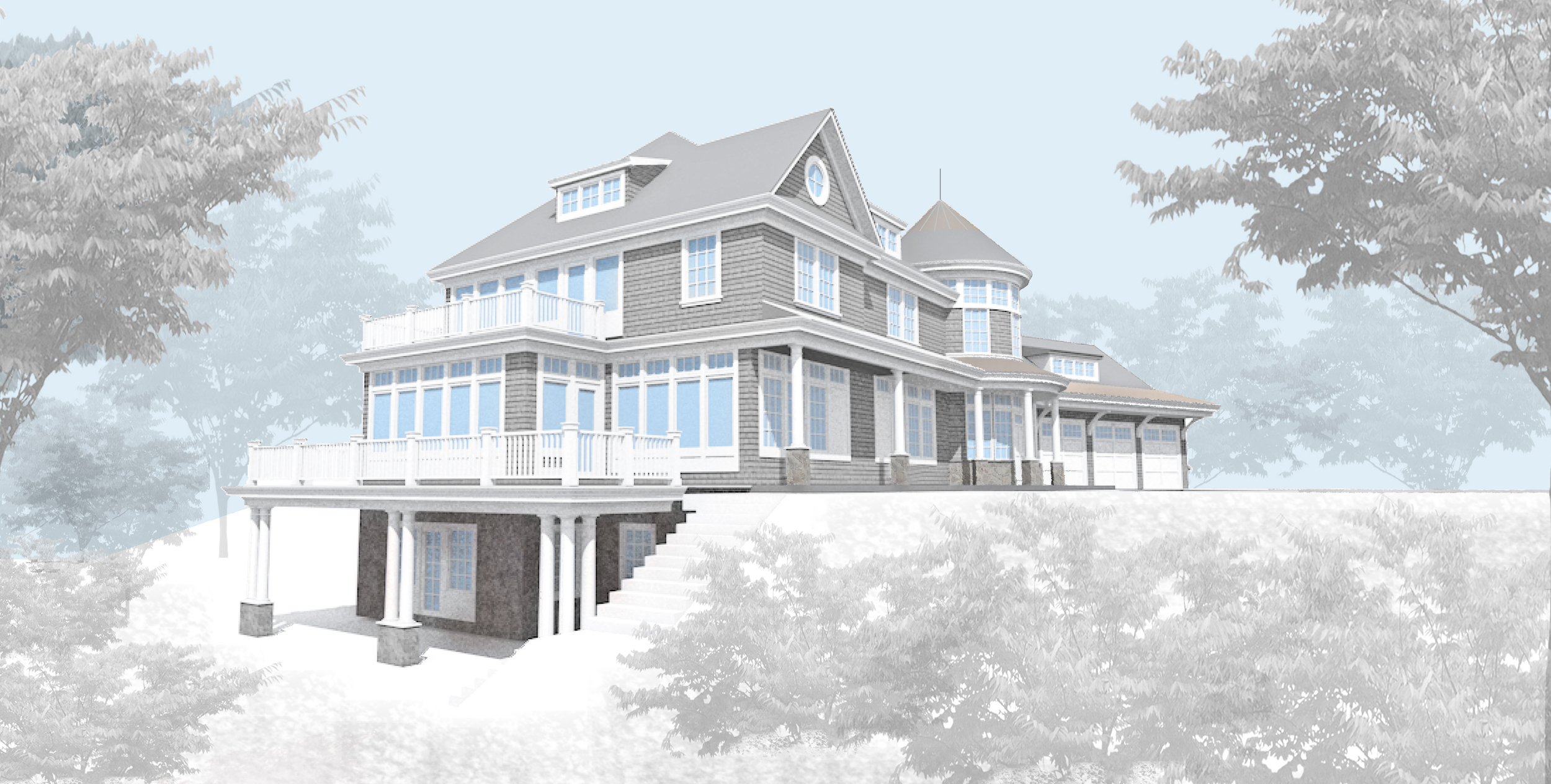 New exterior rendering with clear glass casement windows on Lake side