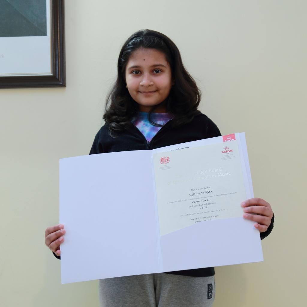 SAILEE VERMA  (2018)   Grade 5 Violin - Distinction,