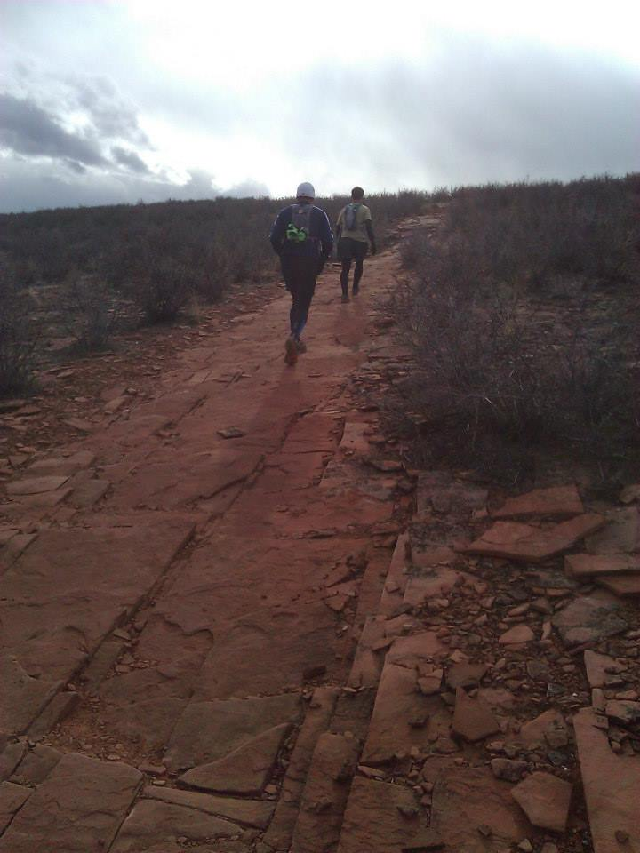 Runners battle up a steep section of bedrock late in the day during the Headless Horsetooth 50k