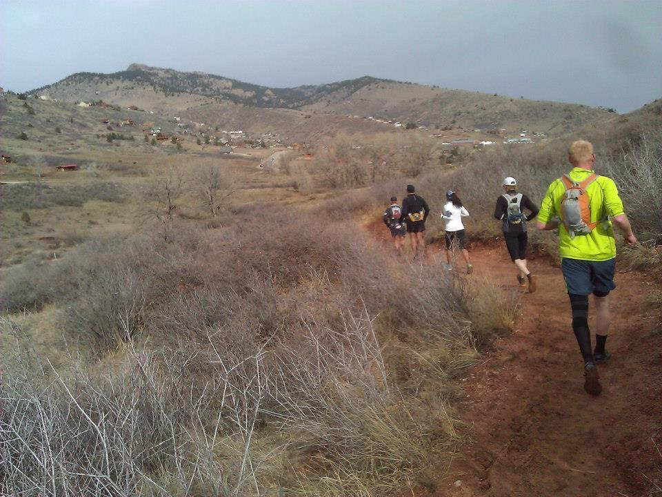 A pack of runners logging some early miles on the Headless Horsetooth 50K course.