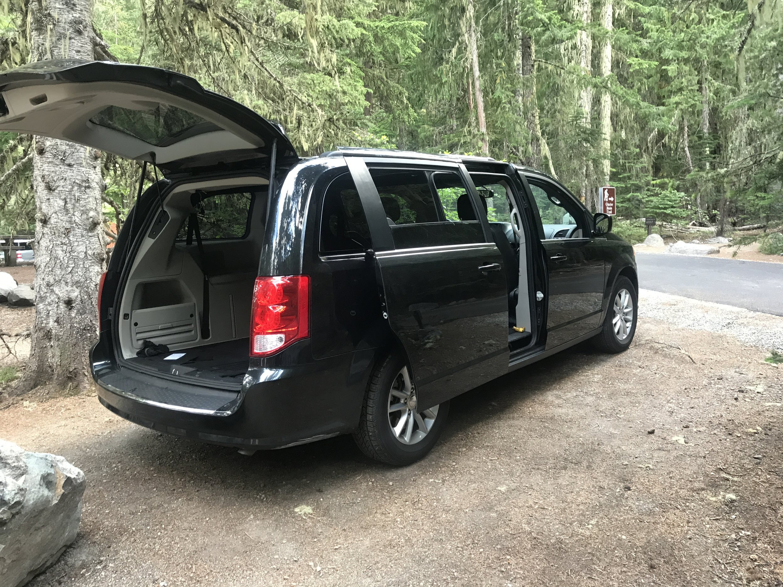 The Black Dodge Minivan, our gear cache for the Paradise Trailhead