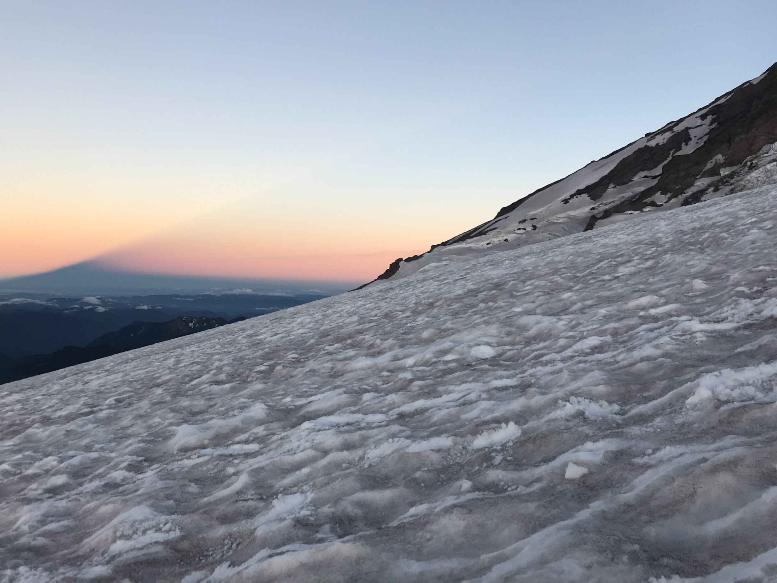 Mt. Rainier's Pyramid Shadow as seen from the approach to Camp Muir during our 2nd ascent in 24 hours.