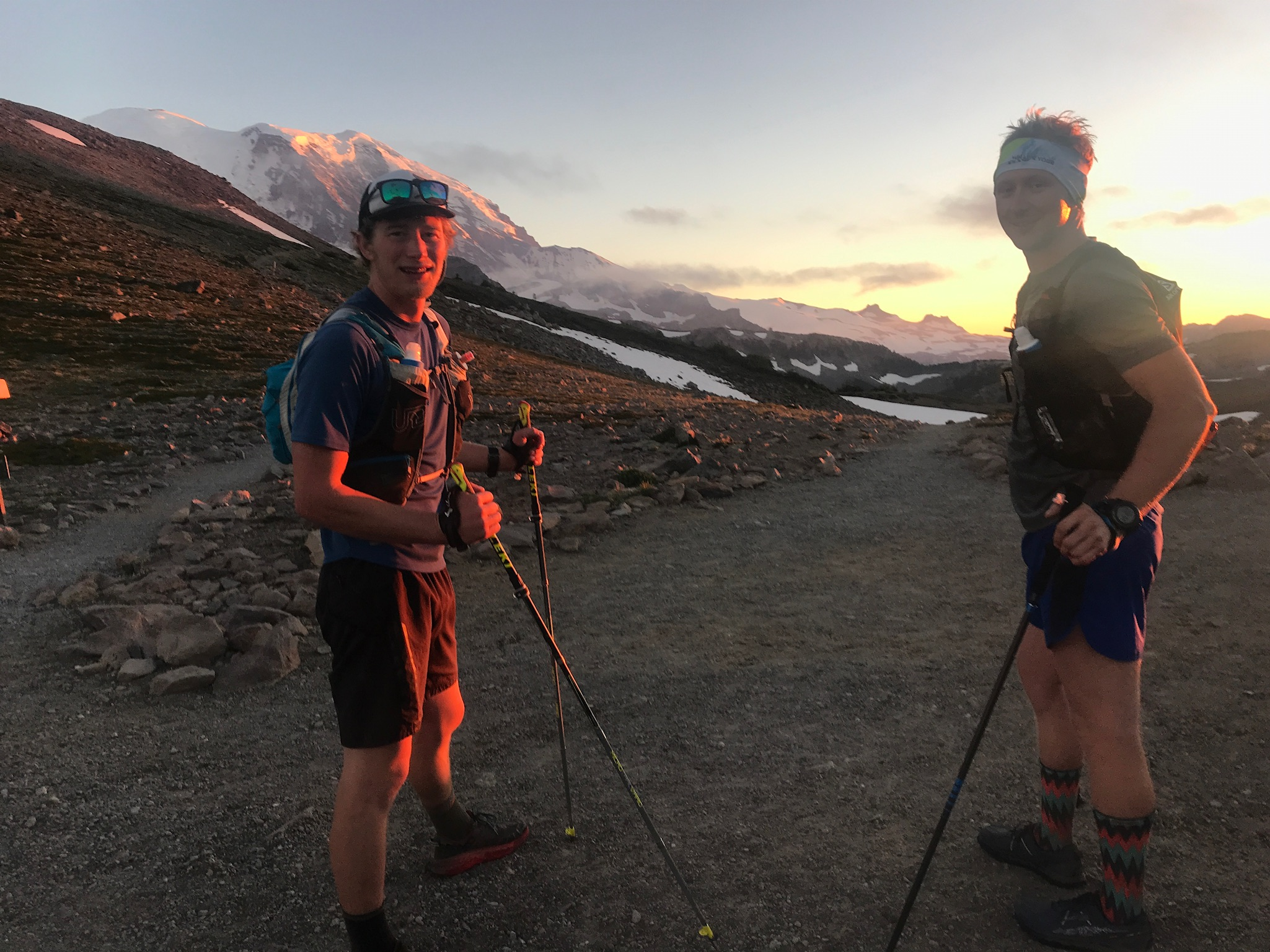 Erik and Sam ready to tackle the remaining 67 miles of the Wonderland Trail at Sunset.