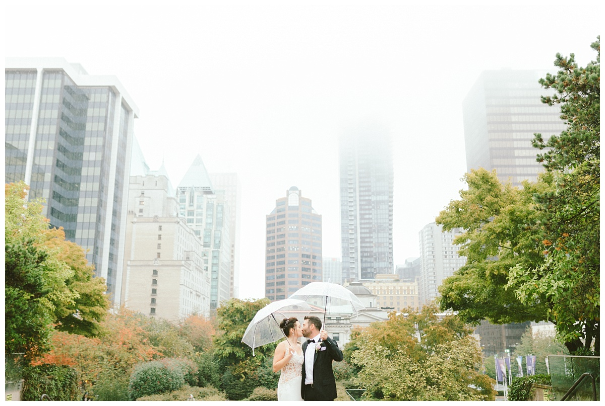 Fall Wedding prewedding photos downtown Vancouver BC (Robson Square)
