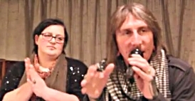 Anita and Gary Collins speaking in Buncrana, Co Donegal