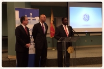 Paul McElroy, JEA CEO, Jaime Irick, vice president and general manager of GE Lighting and Mayor Alvin Brown announce new intelligent LED street lights will collect data for the city to use.