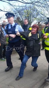 Joan Collins TD, United Left Alliance being arrested Monday morning April 20, 2015