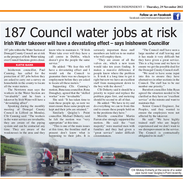 Inishowen Independent, Nov 29, 2012 Click to read.