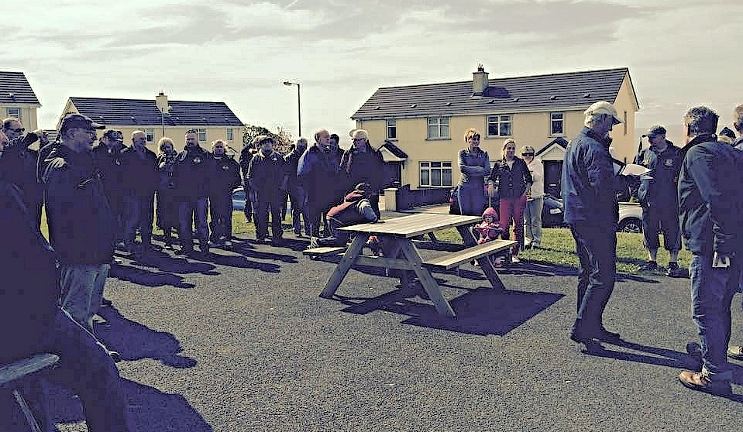 A support meeting in Ard Na Gula Duibhe  estate Moville, Co Donegal in May this year.  Meters were installed without any notices from Irish Water. Irish Water installers started work before 7.30 am. They abused and threatened a 77 year old woman . See  Irish Water Meter Installers Insult And Abuse Ard Na Gula Duibhe 77 Year Old Resident