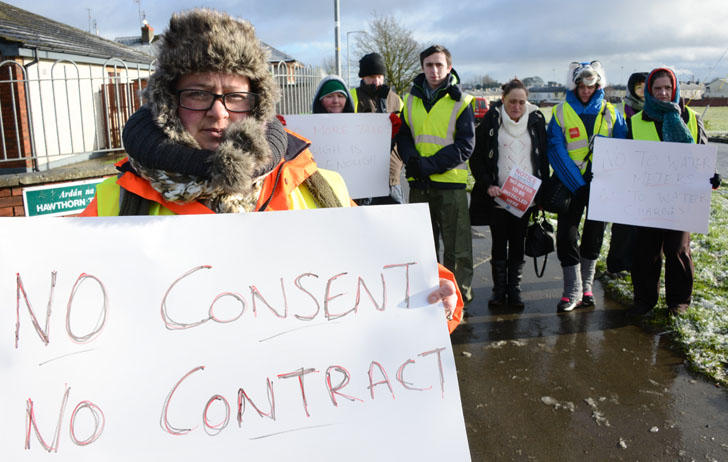 Click to see story.  Moneymore chooses negotiation rather than confrontation over water meters