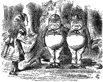 TweedleDum, TweedleDee John Tenniel's illustration, from  Through the Looking-Glass  (1871)