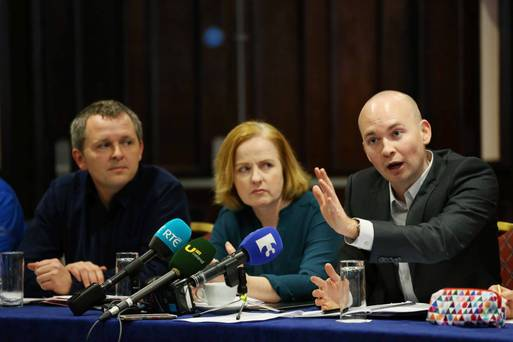 Richard Boyd Barrett, Ruth Coppinger and Paul Murphy at the Anti-Austerity Alliance-People Before Profit launch of a common principles document. Photo: Photo: RollingNews.ie