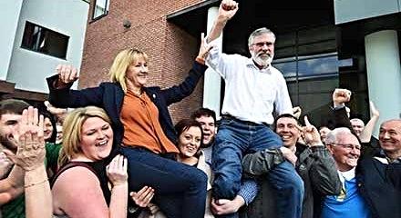 Gerry Adams and SF President Imelda Munster: celebration