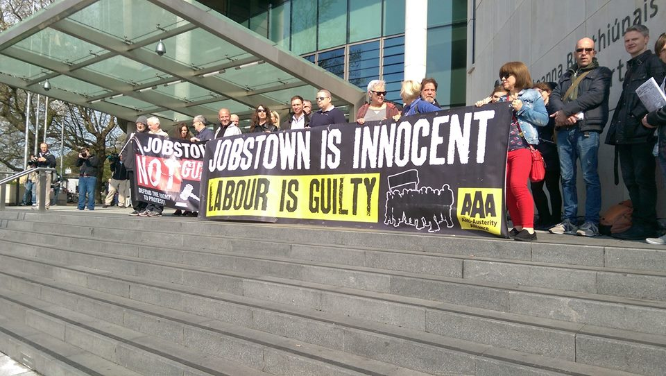 Jobstown protesters before their court casein the Special Criminal Court, Dublin, May 11, 2016