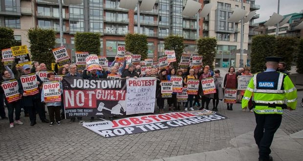 Protesters outside the trial of a 17-year-old for false imprisonment at the Children's Court in Smithfield, Dublin. Photograph: Gareth Chaney Collins