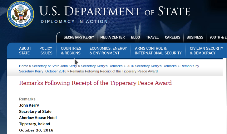 Click image to read the U.S State Dept thank you Tipperary speech.