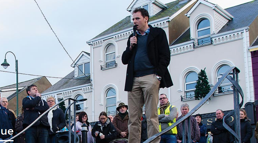 Charlie McConalogue, Fianna Fáil TD speaking at an Anti Water Charge demonstration in Carndonagh, Co Donegal early last year.
