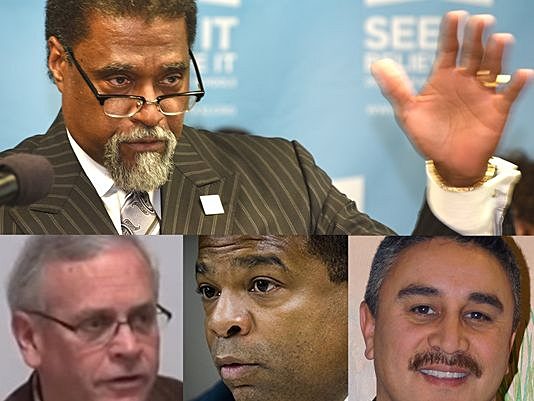 Top row: Former emergency manager Darnell Early. Bottom row, from left: Former emergency manager Gerald Ambrose, former Flint Public Works Director Howard Croft and his subordinate, Daugherty Jones. All face criminal charges in the Flint water crisis.(Photo: Detroit News, AP, YouTube)