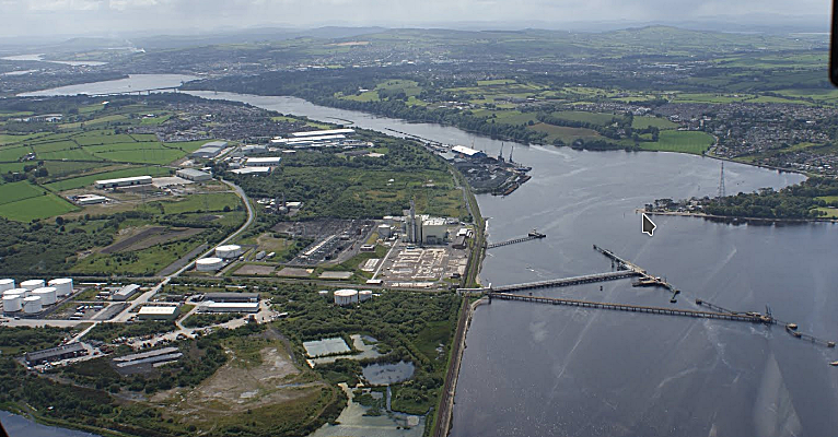Du Pont (UK) Ltd jetty at Maydown on Lough Foyle.   Coolkeeragh power station - centre