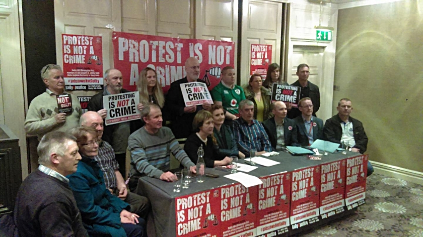 Press conference todayannounces rally on 1st April at Liberty Hall, Dublin.  Photo Rossport 5, Patricia McKenna and TUists.