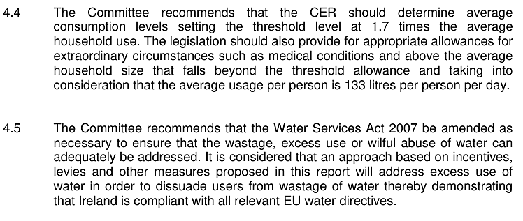Highly ambiguous section of the Oireachtas Water Committee's final report leaves plenty of room for Minister Coveney to be creative on charging and allowances.
