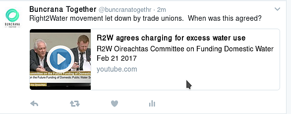 Stevie Fitzpatrick and David Gibney Rigth2Water trade unions go on Dáil record as accepting excessive usage charge.   Graphicfrom Twitter