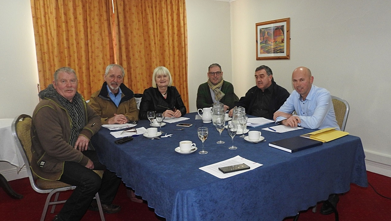 Members of the Our Water' group meeting with MEP Marian Harkin.   L to R; Brendan Kelly, Enda Craig, Marian Harkin, Mark McAuley, James Quigley and Michael Mooney