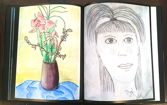 Pages showing artwork by young Julie Freyermuth (now Julie Steines)