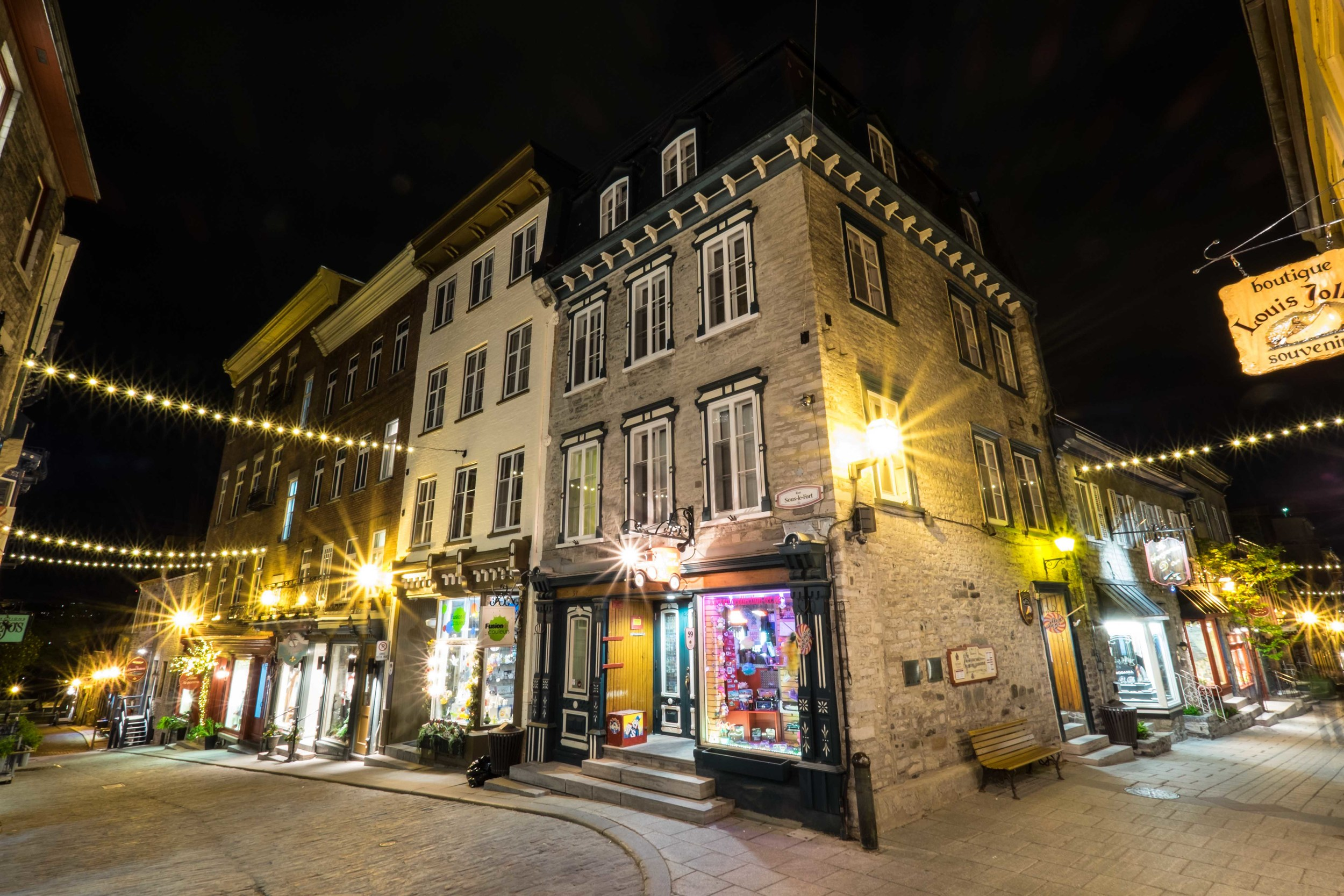 The Charming Streets of Old Quebec after the sun sets