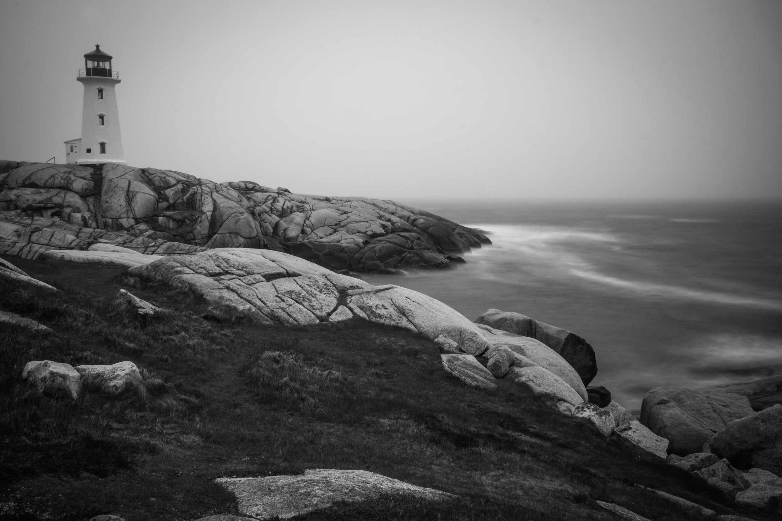Peggy's Cove on a rainy and foggy day.