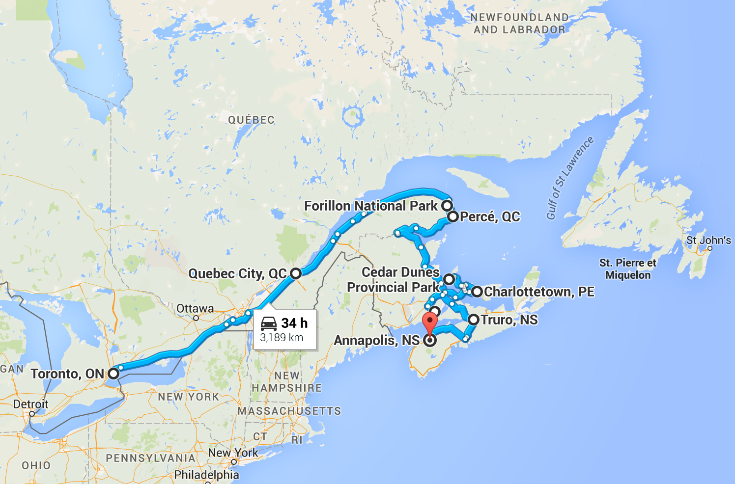 Approximate driving to this point.  Toronto, ON to Annapolis Valley, NS