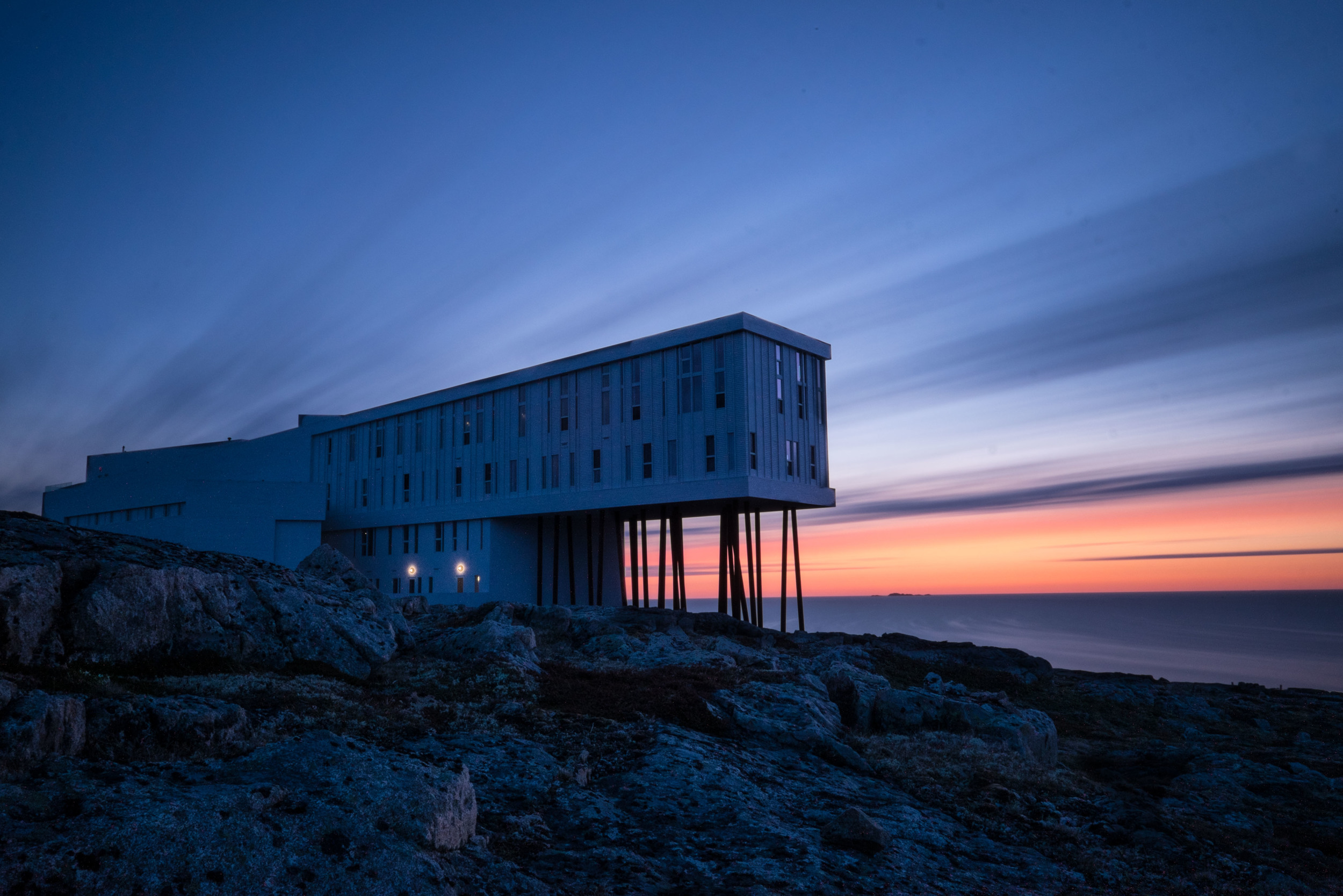 10 minute exposure of Fogo Island Inn using Lee Filters Big Stopper.  The direction of the wind and light streaks made for a fun image.  Only thing better would have been if more lights were on in the Inn... but c'est la vie.