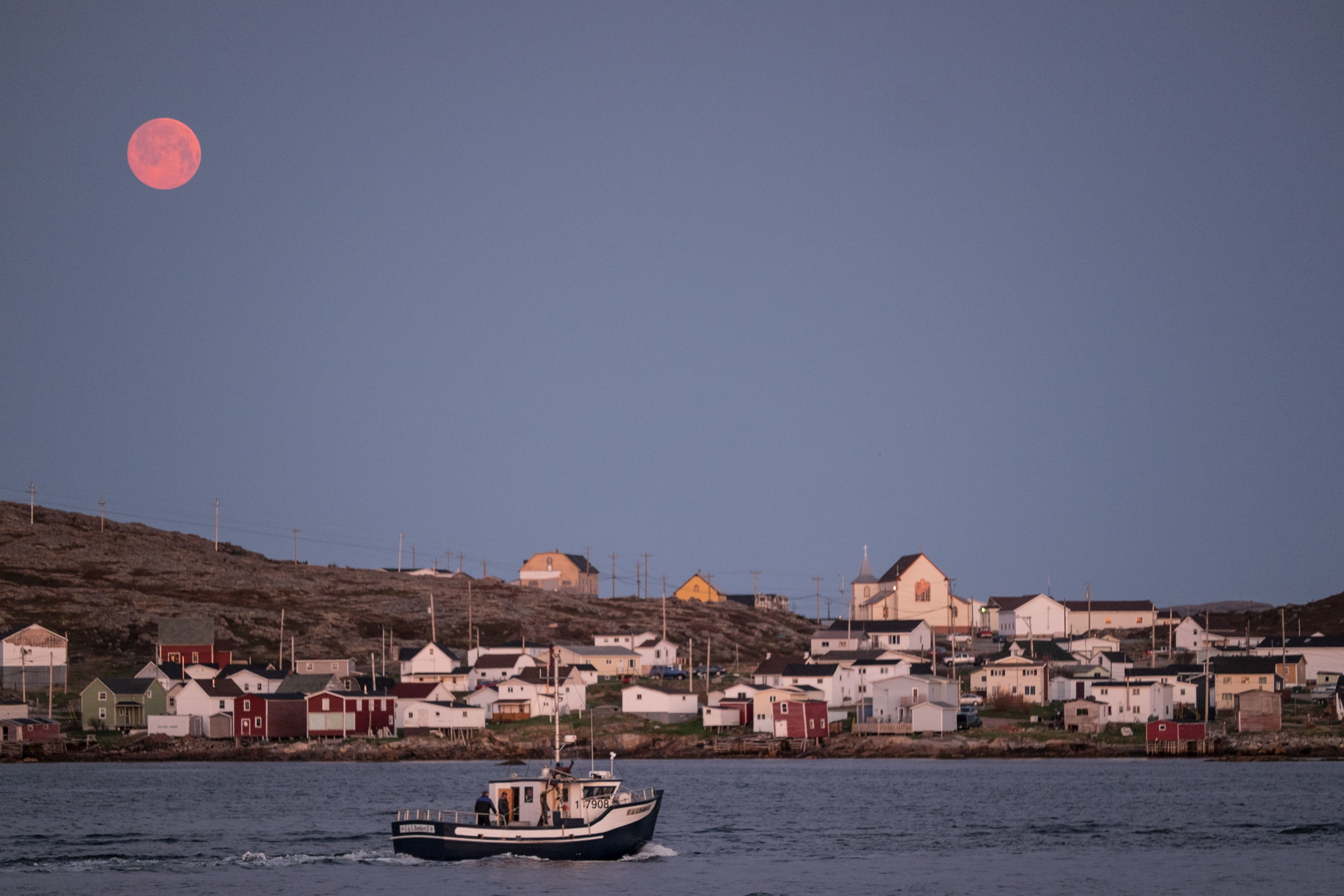 Full and Pink Moon over Joe Batt's Arm Fogo Island