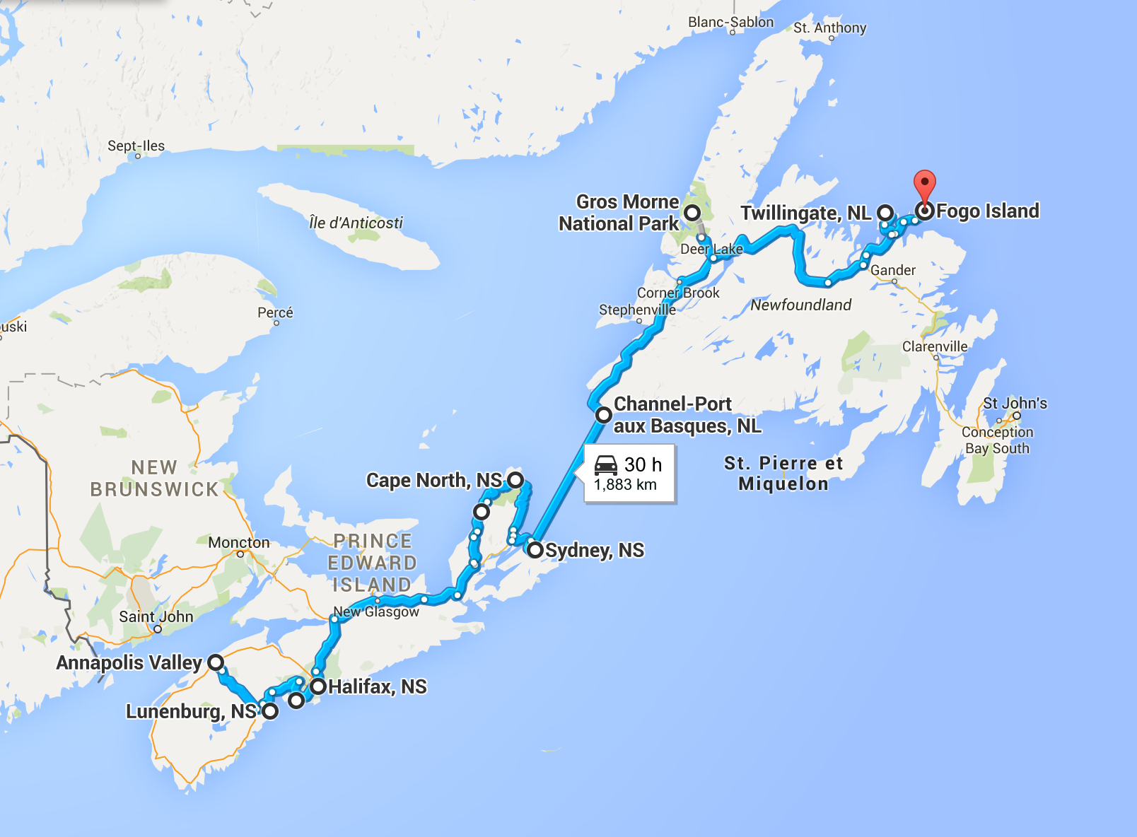 Annapolis Valley to Fogo Island another 30 hours + of beautiful driving.