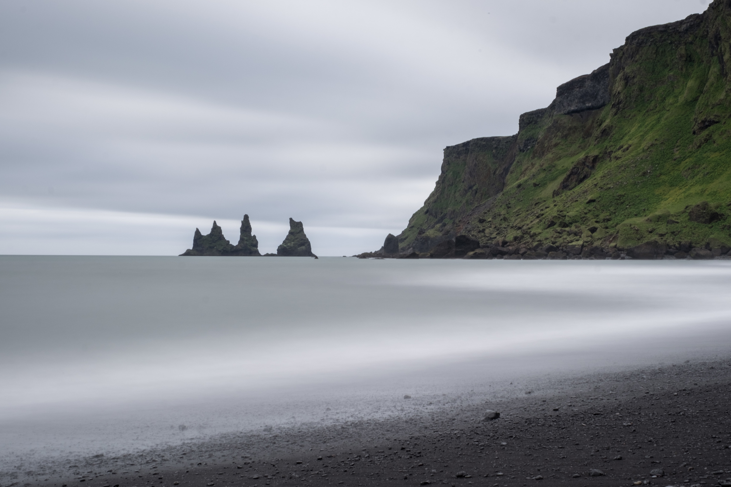 Vik Beach long exposure. Look at that black sand and those sea stacks!