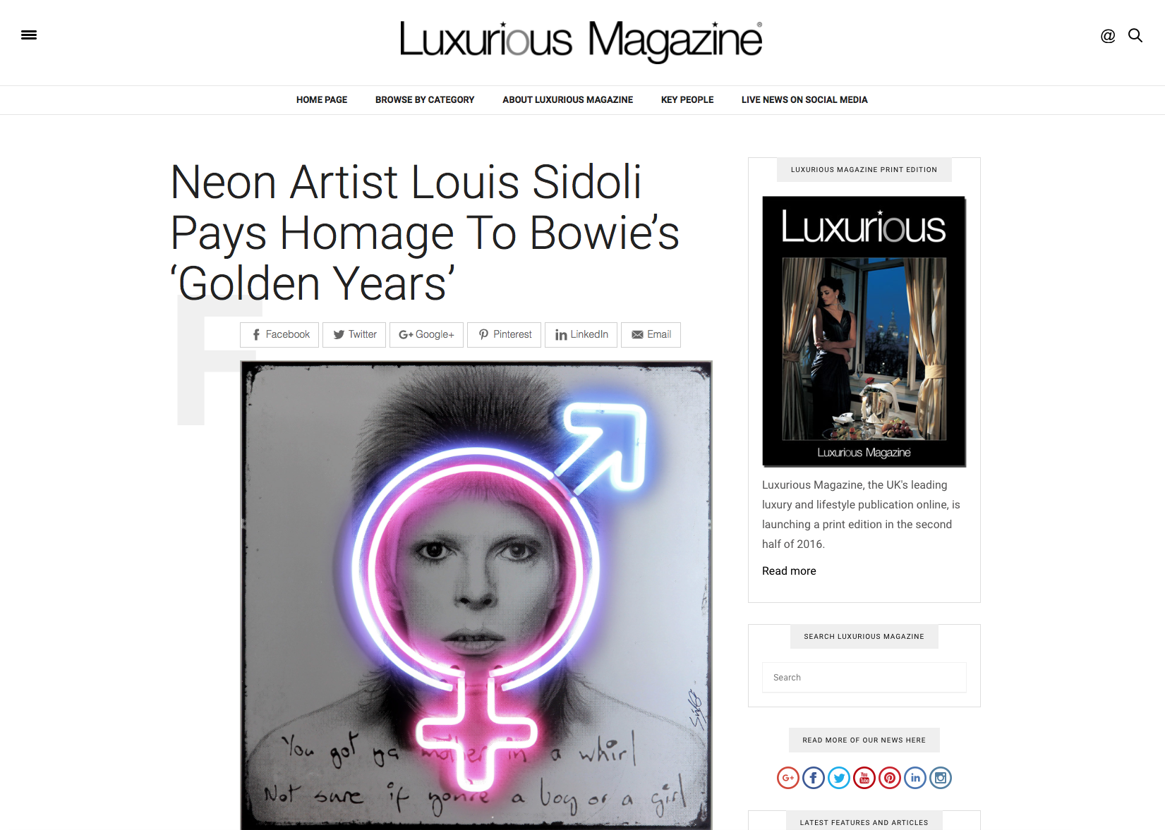 Louis Sidoli Neon Artist: Luxurious Magazine