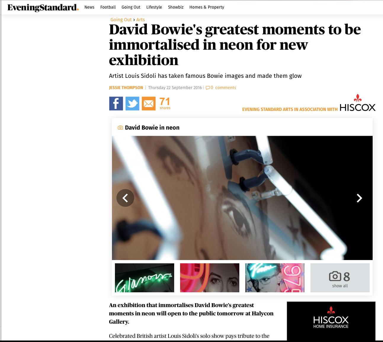 Louis Sidoli Neon Art - David Bowie Golden Years Exhibition