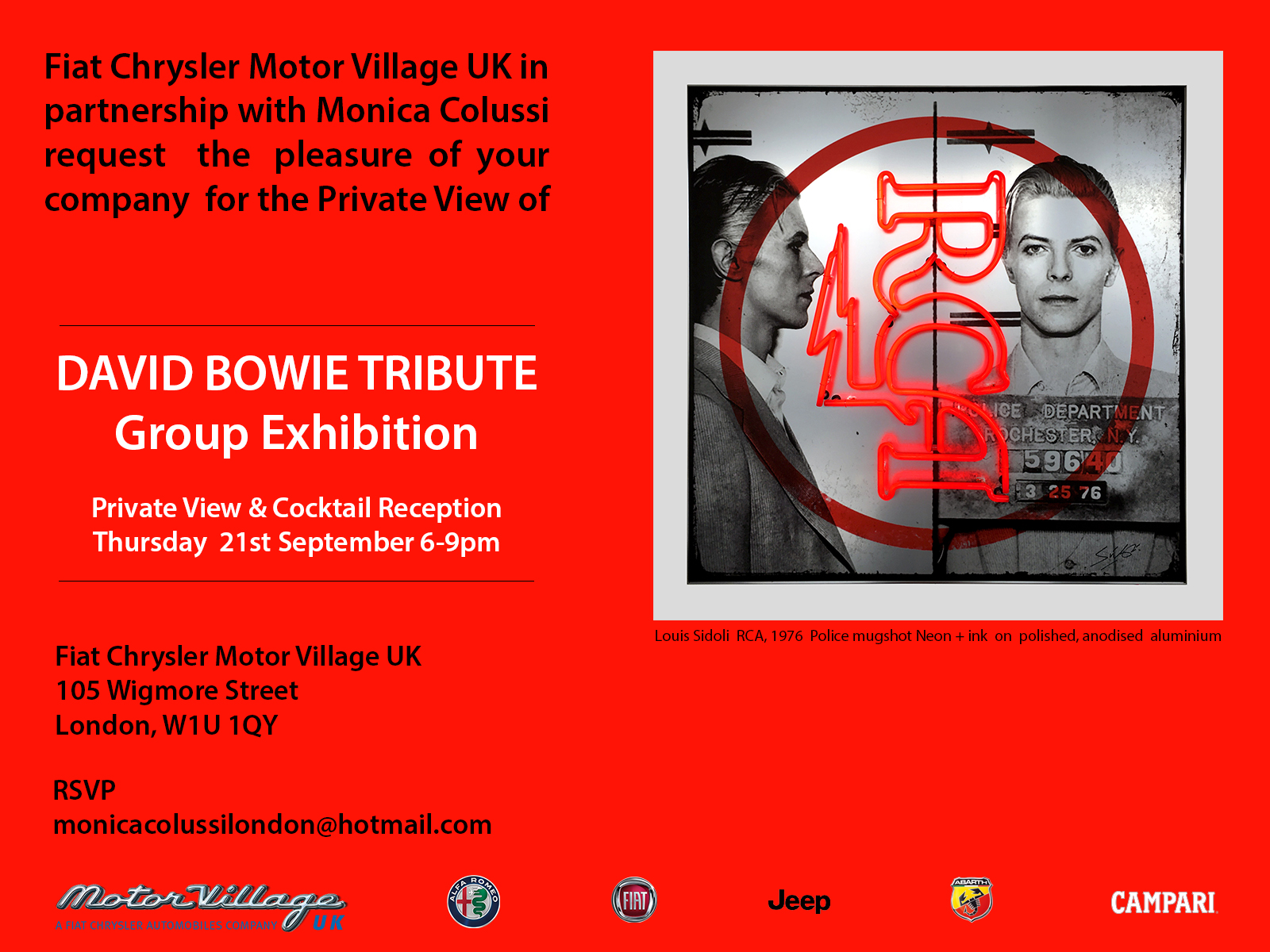 Louis Sidoli Neon Art - David Bowie tribute Art Exhibition