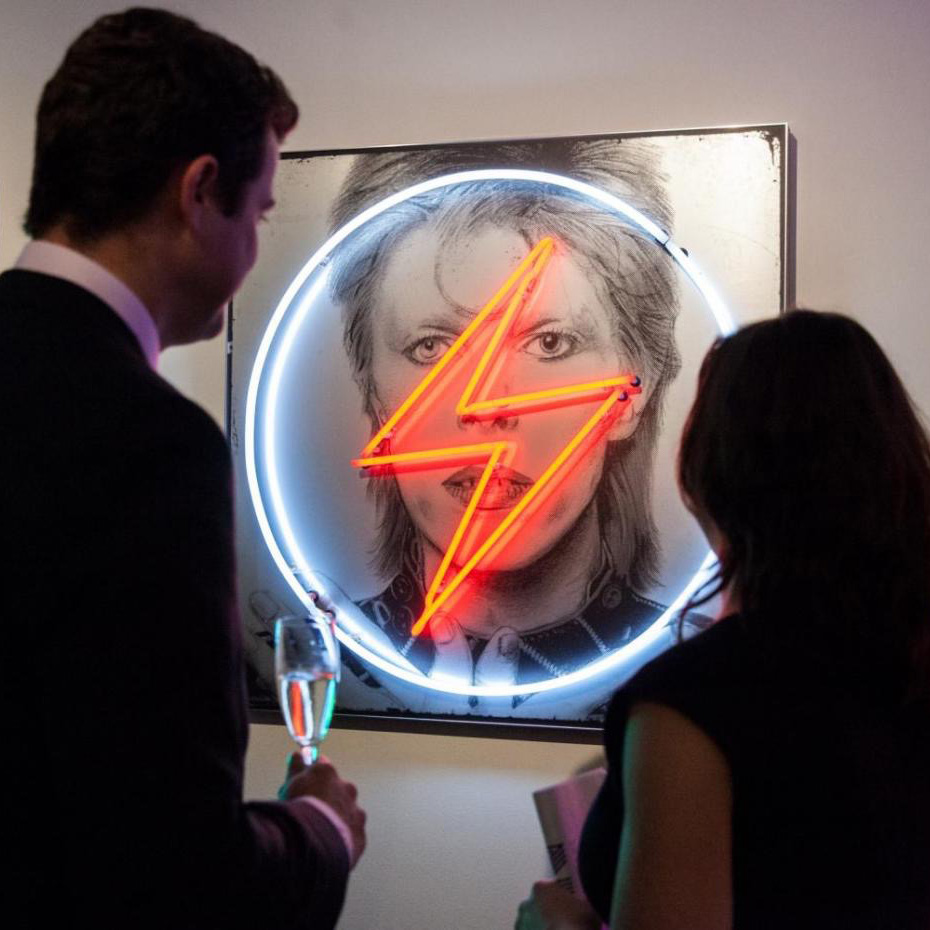 David Bowie 'Golden Years' exhibition - Halcyon Gallery, Mayfair. -