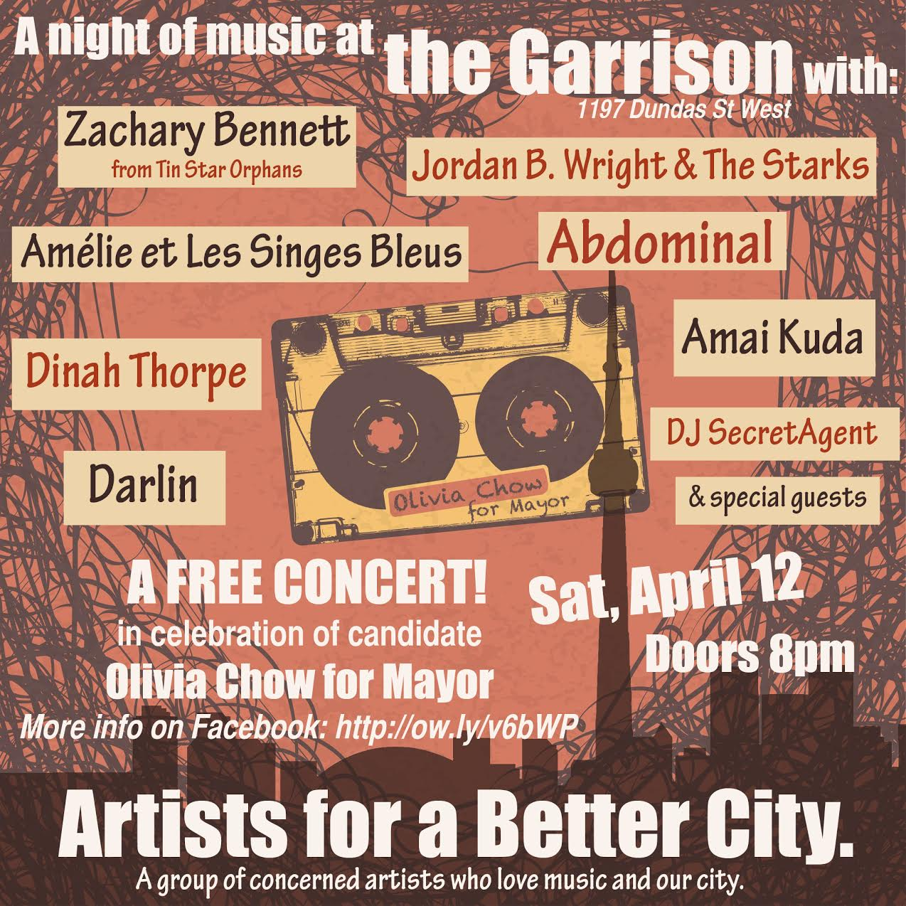 As part of the collective Artists for a Better City I played bass on the following recording collaborating with Kevin Barrett, Anna Gutmanis, Teiya Kasahara, Trish MacAuley, Dinah Thorpe, Beth Washburn, Caleb Woolcott, Lynne Woolcott and Stephanie Yelovitch. Olivia thanked us for her song. We also gained some media attention by the National Post.