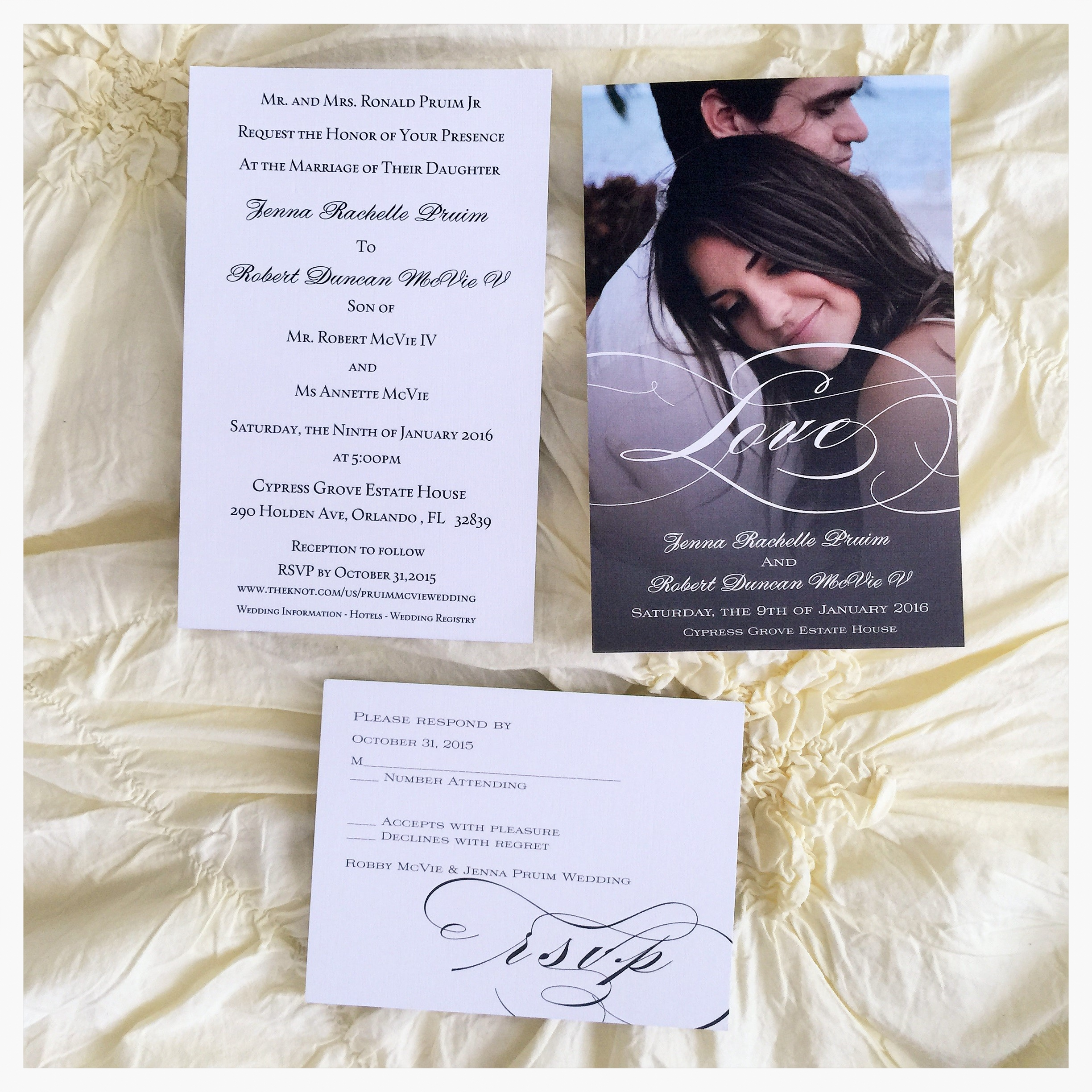 ** The invitation is two sided. We chose our invitations to be printed out on linen paper to give it more of an elegant feel.