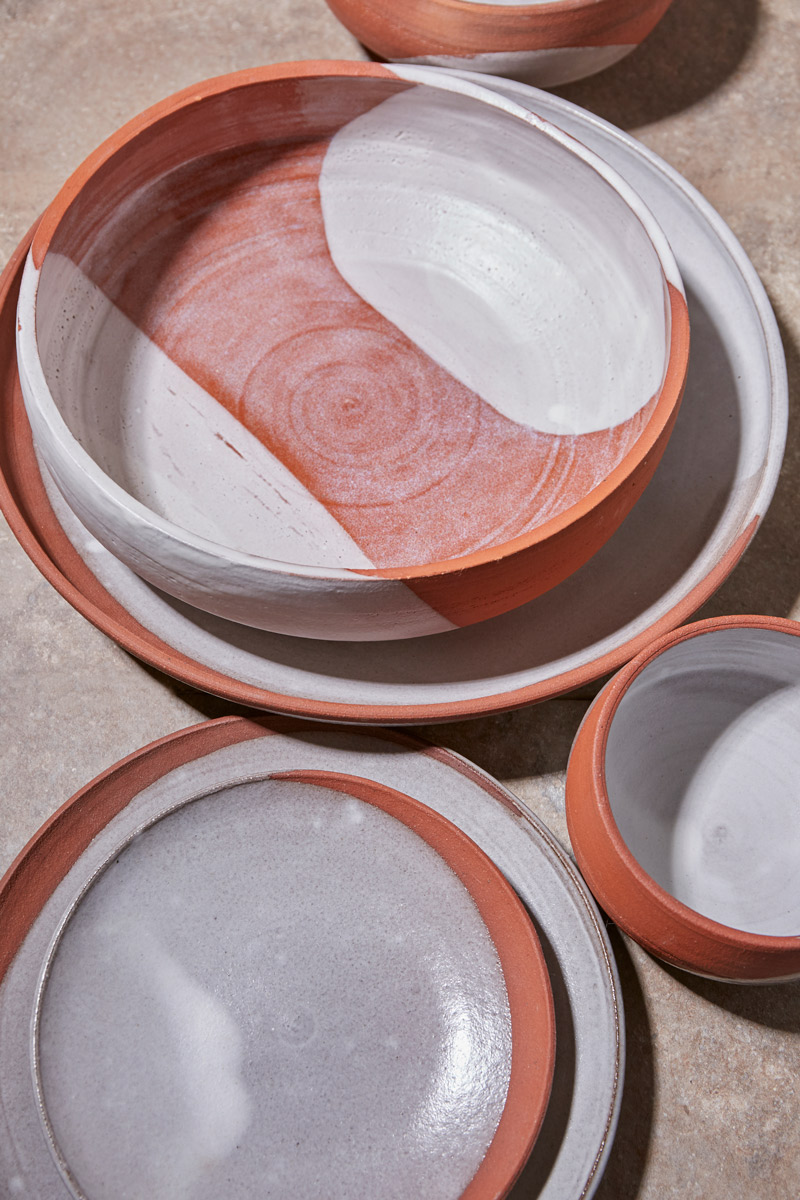Red Clay Waxing Moon Bowls