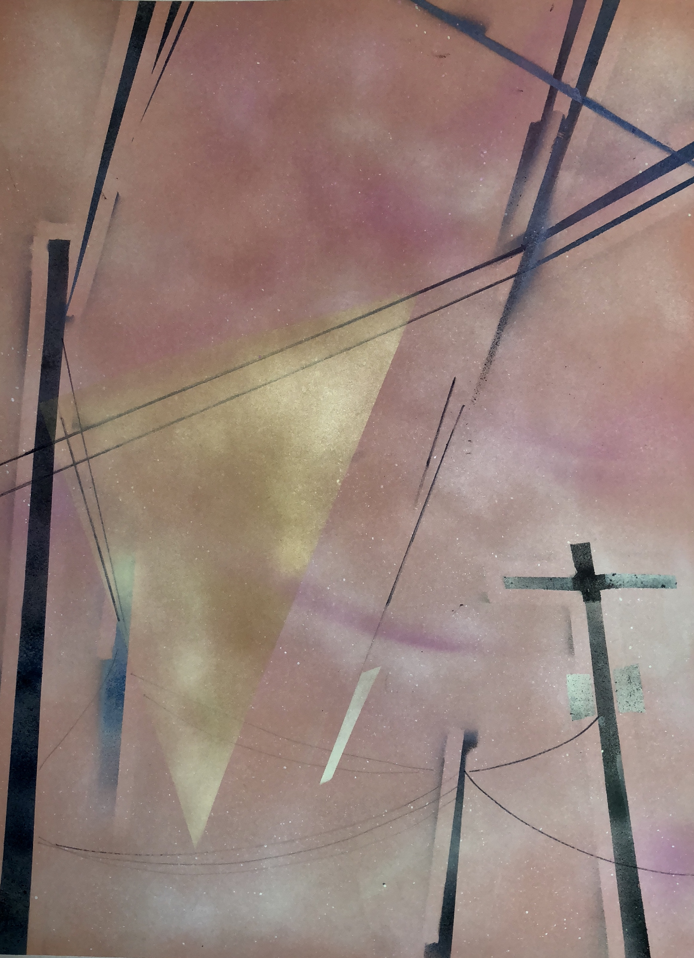 "Street Stitch 1  , Spray Paint and Sharpie Marker on Paper, 30"" x 22"", 2018."