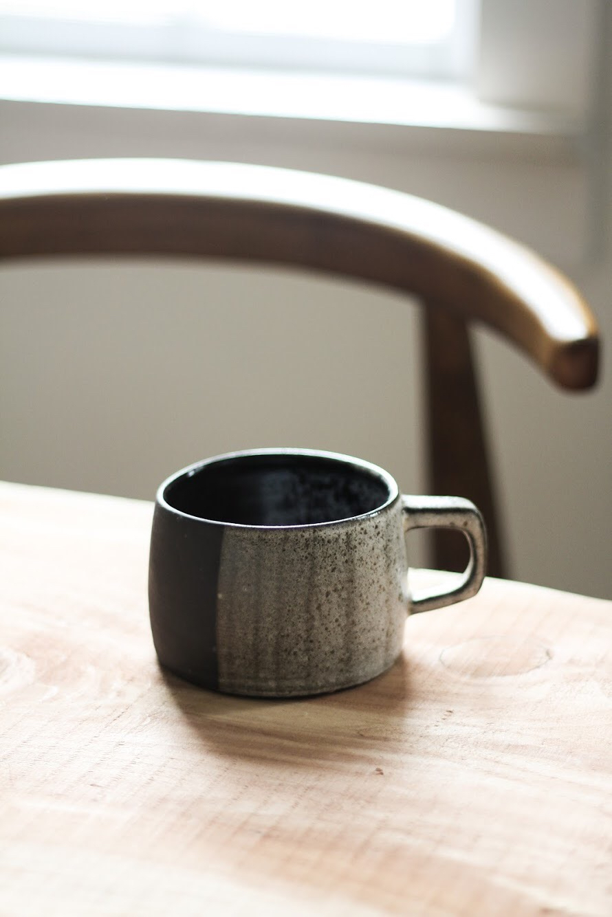 Block Mug in Black Clay