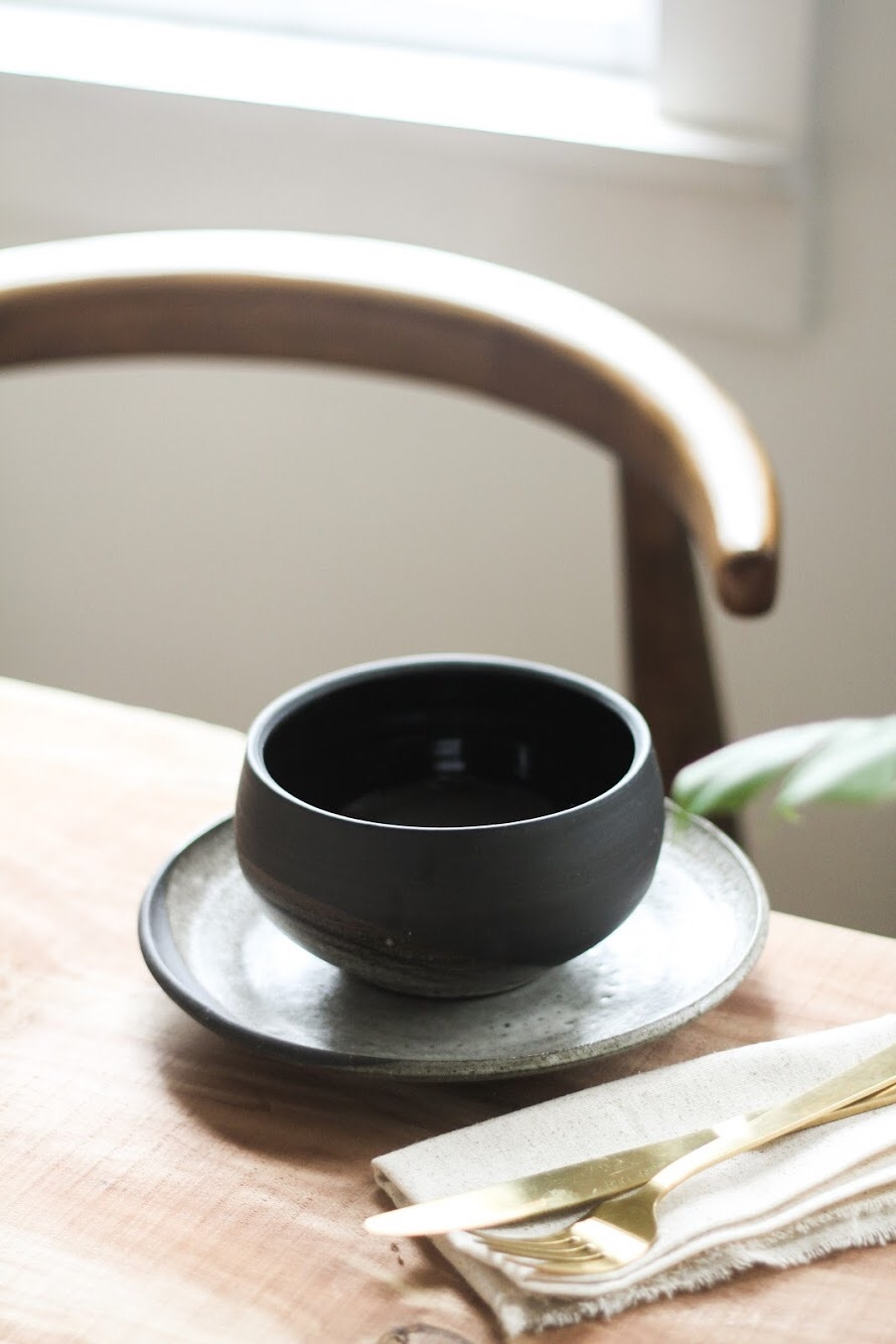 Rising Moon Bowl in Black Clay