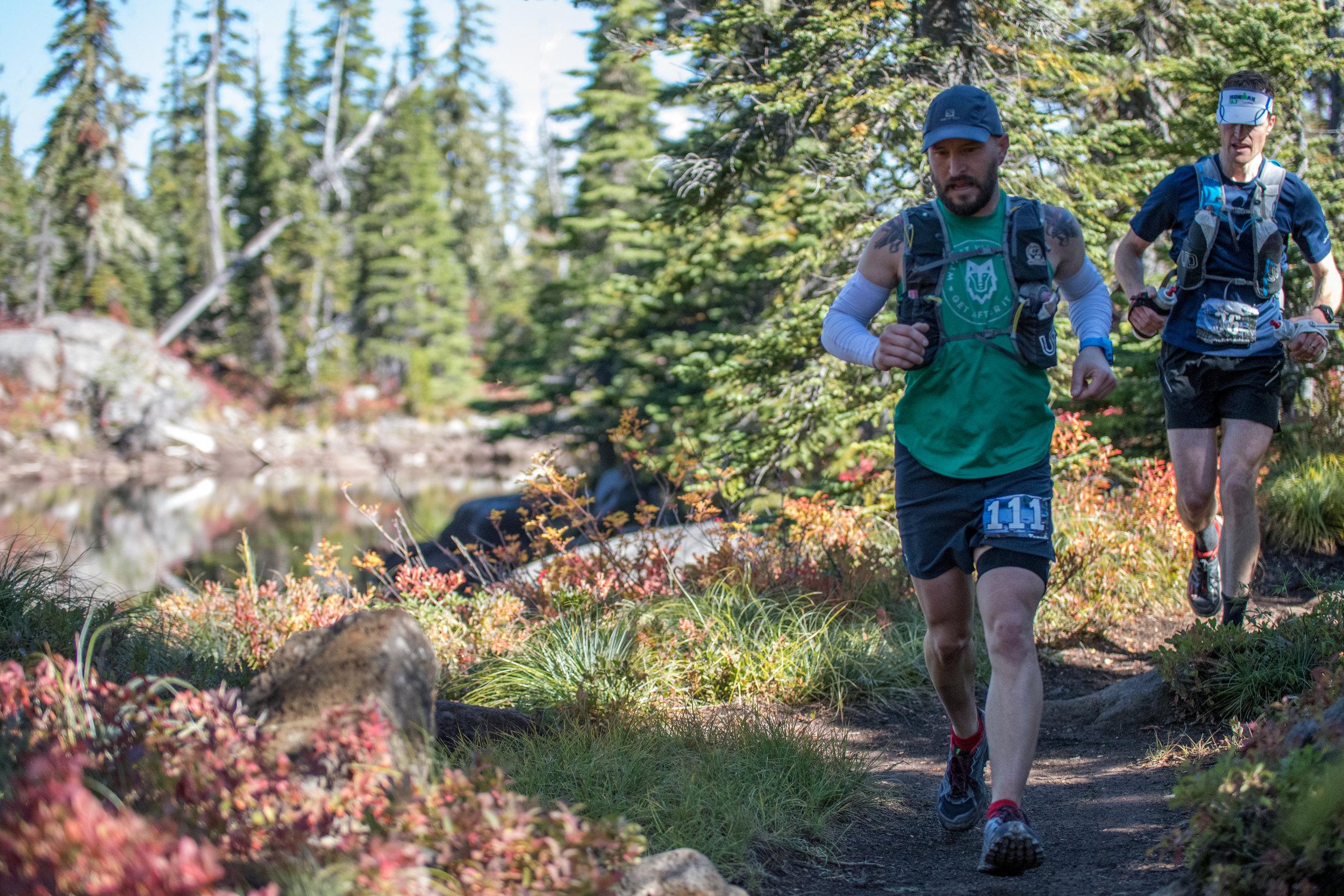 sharing some trail with Adam Braddock - photo by RunnerTeri