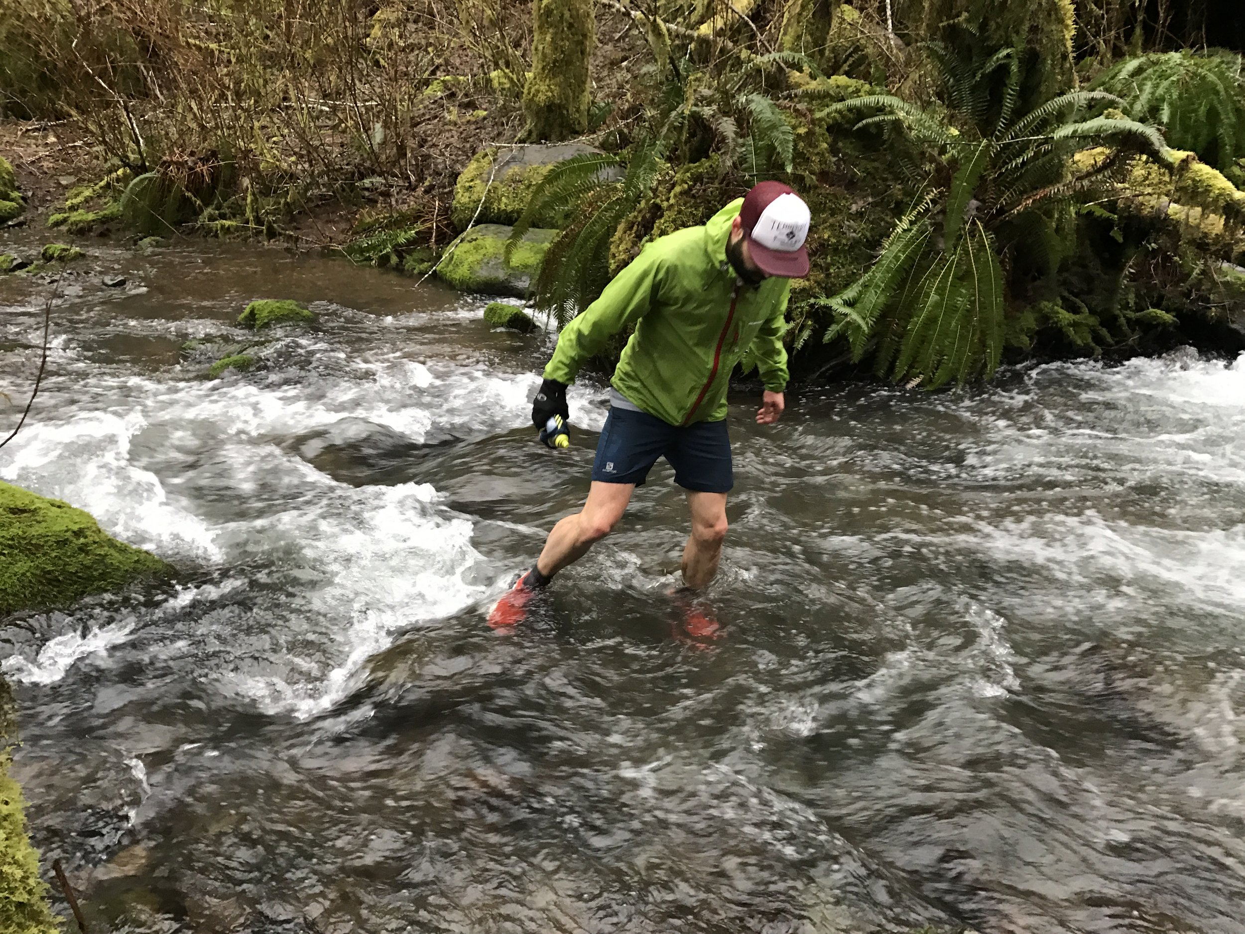 Navigating Wolf Creek after a bridge outage - Wilson River Trail - Tillamook